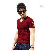 2012 hot sell men slim korean solid V-neck short cotton T-shirts free shipping LJ094