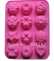12 hole HOT PINK SILICONE ROSE FLOWER STAR SHAPE MOULD TRAY CUPCAKE CAKE SOAP ROSES