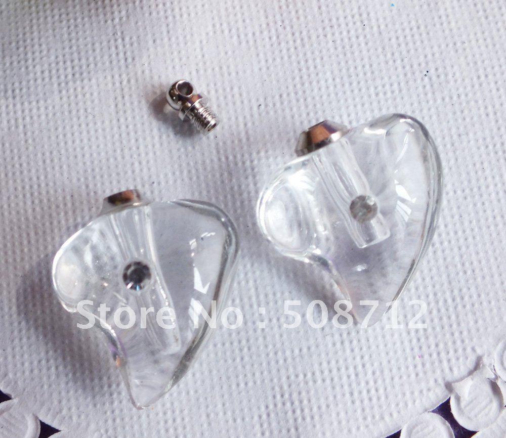 Grátis frete cristal Rhinestone Perfume Vial ClearHeart 21 x 13 MM frascos de Perfume pingente de cristal jóias(China (Mainland))