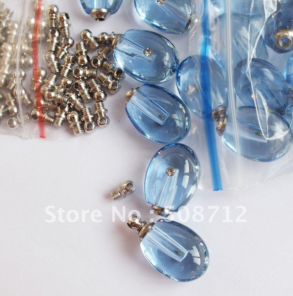 Grátis frete Tear Drop azul frascos de Perfume ampola de cristal pingente cristal pingente de bugiganga(China (Mainland))
