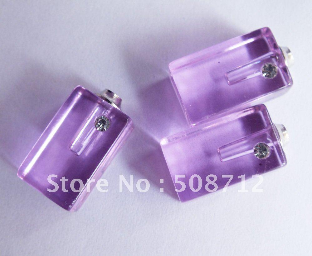 Grátis frete roxo cristal Rhinestone Perfume Vial quadrado pingente de cristal jóias(China (Mainland))