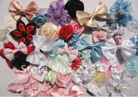 50pcs Ribbon bow flowers appliquest craft lots mix