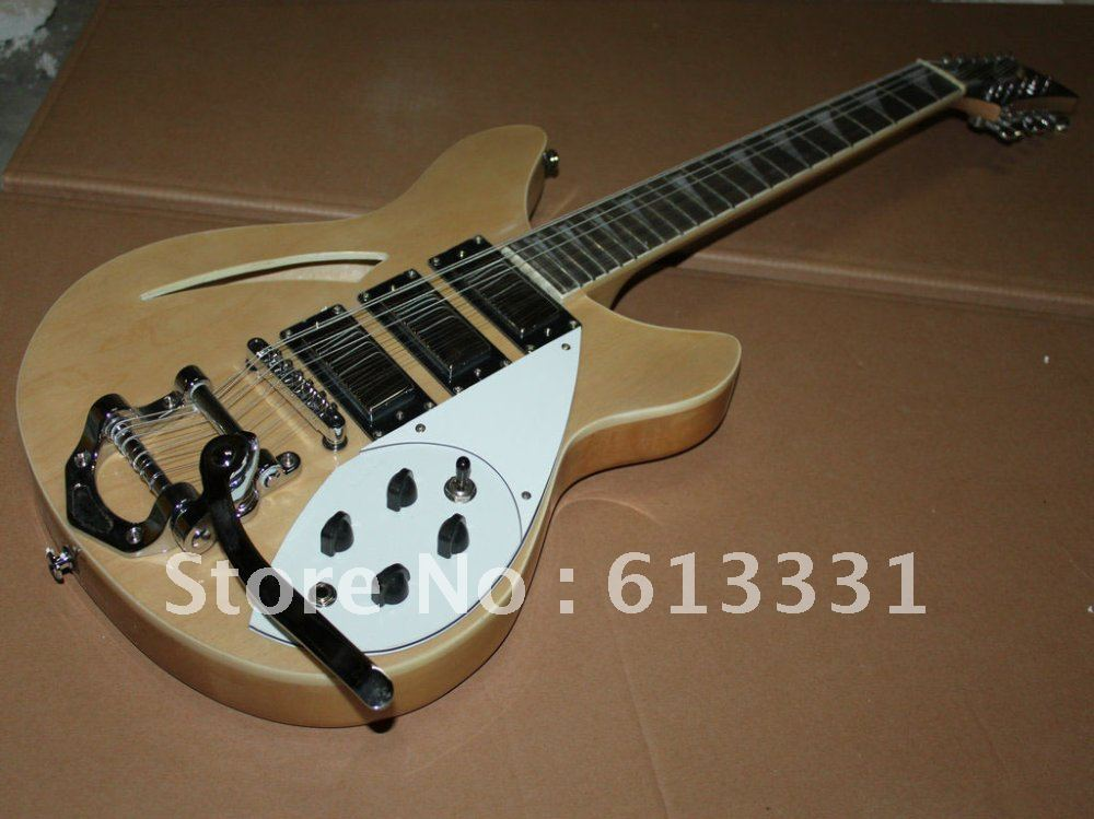 special offer 12 Strings 3 pickups natural color with electric guitar(China (Mainland))