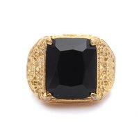 Black Onyx Stainless Steel Mens Golden  Ring Size 8 9 10 11 R266