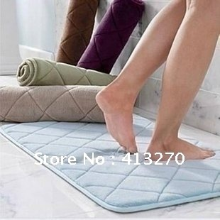 1pcs Free shipping 2color 40*60cm Bath mat anti-slip memory foam cushion door floor absorbent rug(China (Mainland))