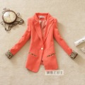 Hot Free shipping WOMAN Leopard SUIT BLAZER FOLDABLE SLEEVES COAT women jackets black+orange+white M L