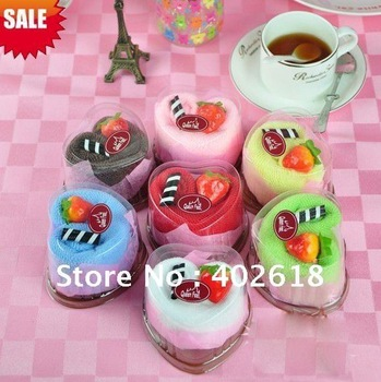 4Pcs/lot Hot sale, cake towel, gift towel, wedding gifts, birthday gifts,100%cotton, solid color, free shipping