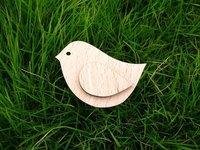 Vintage bird with an wing cute design fashion wooden bird brooch