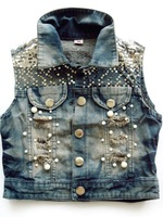 2012 new 2012 personality slim short women's denim vest vest 108 free shipping