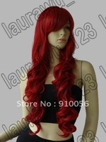 "Free Shipping 32"" Long Heat Resistant Big Spiral Curl Red Cosplay Wig 80cm"