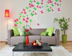 88pcs/lot 5*5cm acrylic crystal 3D Wall Sticker Butterflies Home Decor Room home hourse Decorations Stickers mixed color(Hong Kong)