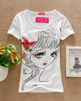 Женская футболка L43 Korean style Star Necklace pattern women's t shirts tops wear black or white