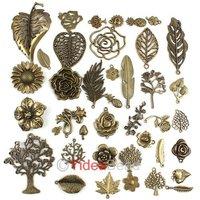Hot Sale 160pcs Antique Bronze Tone Mixed 40 Designs Charms Plant Shape pendant beads 141373
