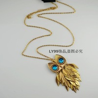 New 2014 popular The gold owl long necklace fashion and lovely style jewelry accessories