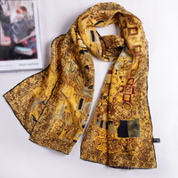 2012 FASHION SCARF 100% MULBERRY SILK SCARF SHAWL PONCHO WRAP ART OIL PAINT HANDMADE TRIM 156X42CM FREE SHIPPING SF0013