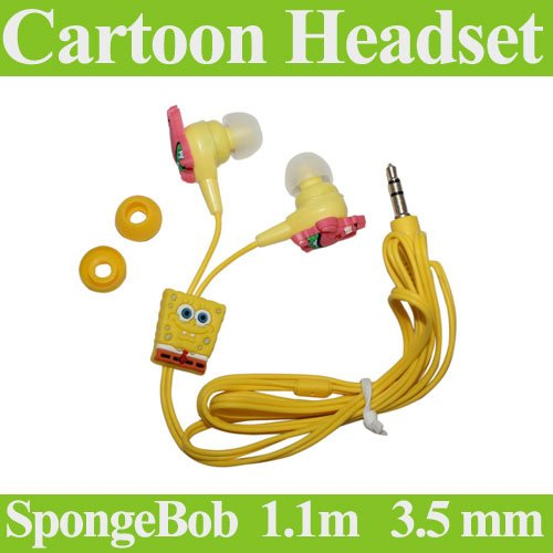 Free Shipping 3.5 mm cartoon SpongeBob headset beautiful design 1.1m cable cartoon earphone(China (Mainland))