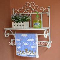 European-style iron  Wall mounted rack  Bathroom glass shelf storage rack  Wall art antique Towel rack Towel wall