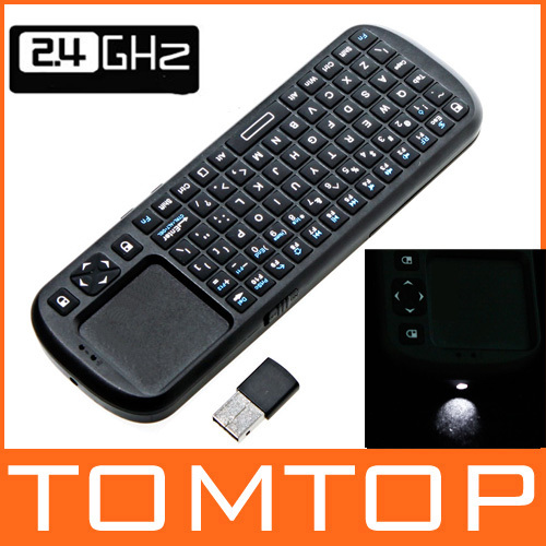 iPazzPort 2.4G RF Mini Wireless Handheld Keyboard Touchpad with Smart TV / PC Remote QWERTY LED Light Computer Peripherals(China (Mainland))