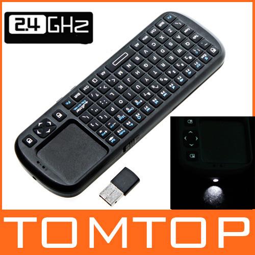 iPazzPort 2.4G RF Mini Wireless Keyboard Handheld Keyboard Touchpad with Smart TV / PC Remote QWERTY LED Light Keyboard(China (Mainland))