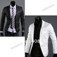 2013 New Men's Formal Jacket Fashion Suit Casual Slim Fit One Button Blazer Coat Jacket Black White(M L XL) Free Shipping 7238
