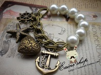 Europe and the United States retro pearl stretch sailor starfish bracelet  female