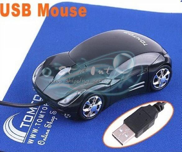 Wholesale Cool Car Shape Mini Wired 3D USB Optical Mouse Black(China (Mainland))