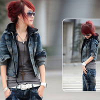 FREE SHIPPING!2013 Spring autumn Women fashion denim outerwear coats Jacket