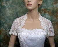 Free Shipping  Ivory short sleeve bridal lace bolero jacket Any color size wholesale/retail