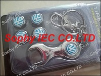 1set Spanner wrench tire valve caps with Blue Volkswagen car logo 4pcs caps+1pc wrench