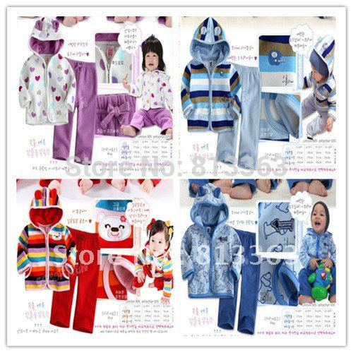 free shipping 4 design 3sets/lot outer wear+pant baby's suits kid's suits(China (Mainland))