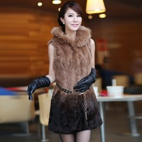 Free Shipping by EMS/DHL, Newest, women, rabbit fur, hooded, fox _fur cap side, 2colors, female, jacket, vest