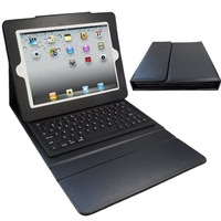 Folding Leather Protective Case Wireless Bluetooth Keyboard for iPad/iPad 2/iPad3 - Black