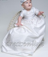 Lovely High Quality White Ivory Taffeta Boy Baby Clothing Christening Gowns Baptism Dress With Hat