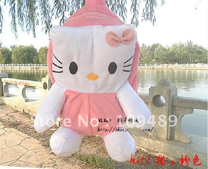 Free Shipping EMS 30pcs/lot Hello Kitty Figure Plush Kid Backpack school bag hand bag Wholesale(China (Mainland))