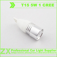 Free shipping + wholesale + 10pcs/lot + Car Light  T15 W16W 5W 1 CREE Q5 LED Auto Wedge Bulb high Power Super Bright White Color