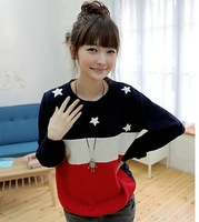 2013 Hot sell,Women casual long Sleeved Striped star Hoodies/pullover,women's casual cute sweatsirts,Free shipping,/X2323