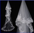 layer veils / embroidery / white or Ivory Bridal Veil / flower champagne