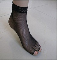 New Arrival, 3 Pairs women Lace Net Summer Elastic  open-toed five toe Socks (peep-toe ),Free Shipping