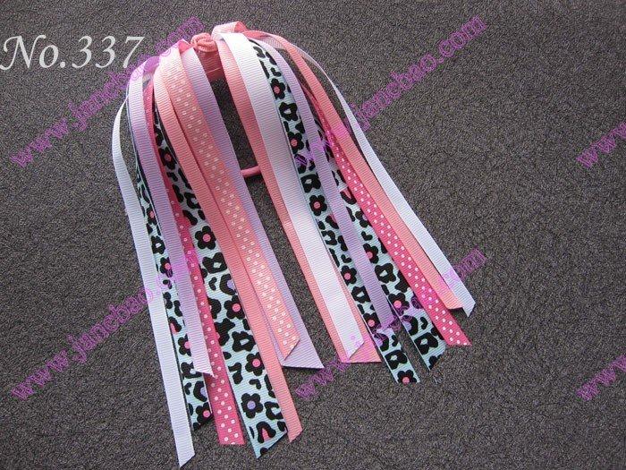 free shipping 500pcs Newst fashion Pony O Hair Bow Ponytail Streamers mix color ponytail holders(China (Mainland))