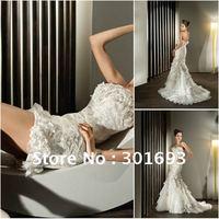 Oumeiya J1934 unique new style full lace applique mermaid wedding dress detachable skirt
