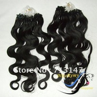 Easy Loop Hair Extensions 100% Human Hair Mix Colors Order / 0.8g/strand body wave high quality 25strands/pack