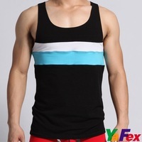 Free Shipping 1pcs/lot Sexy Mens Vest Singlet Splice Cotton Underwear Tank Top A-shirt 3 Size 3 Color CL3195