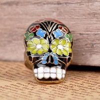 Wholesale Europe And America Original Single Fashion Personality Peking Opera Masks Skull Rings 24pcs/lot Free Shipping