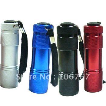 2PC/LOT Different Colours Choose 9 LED Mini Torch Aluminum Flashlight Lamp Camp Picnic Hiking Outdoor