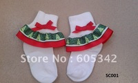 40 Pairs/Lot  fashion Christmas  Double Layer Ruffled cotton Ribbon  Socks   Baby Todder Girls U pickup color+ EMS Free Shipping
