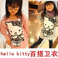 New Arrivals wholesale autumn girls contton tshirt Hello Kitty kid Hoodie Child Sweatshirts cartoon baby tshirt kitty 5 pcs