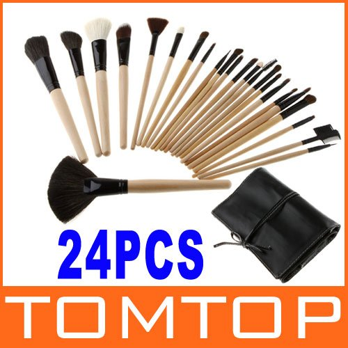 3sets/lot 24pcs Professional Cosmetic Make Up Makeup Brush Blush Eyeshadow Set Kit with Black Leather Case, Free Shipping(China (Mainland))