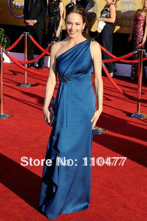 FL024 Elegant One Shoulder Satin Royal Blue Diane Lane Best SAG Celebrity Dresses 2012(China (Mainland))