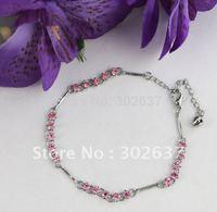 12PCS Pink Rhinestone Stick Chain Anklets #21959
