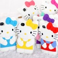 3D Hello Kitty Cute Soft TPU Rubber Back Case Cover Skin for iPhone4 4G 4S,DHL/EMS Free Shipping 50pcs/lot